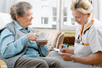 caregiver advicing the patient