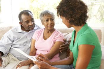 caregiver advising the patient