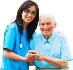 caregiver and senior patient